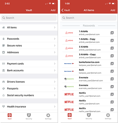 """Vault und Ansicht """"Alle Einträge"""" in iOS"""