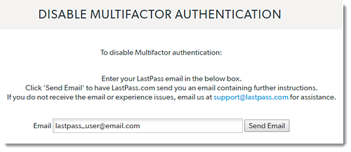 Disable Multifactor Authentication