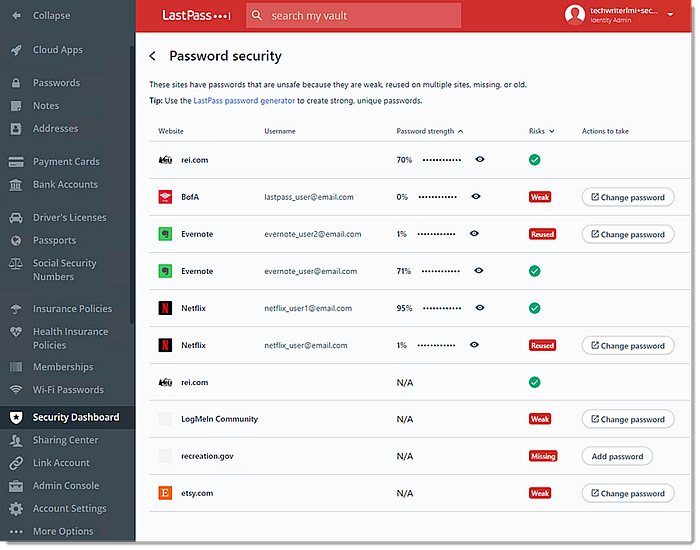 Password Security page
