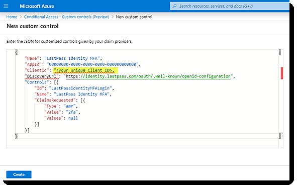 New custom control in Azure AD portal