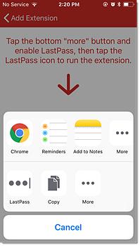 Tocca Altro, quindi tocca LastPass per abilitare