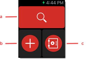 De kluis doorzoeken en items toevoegen of openen op Apple Watch