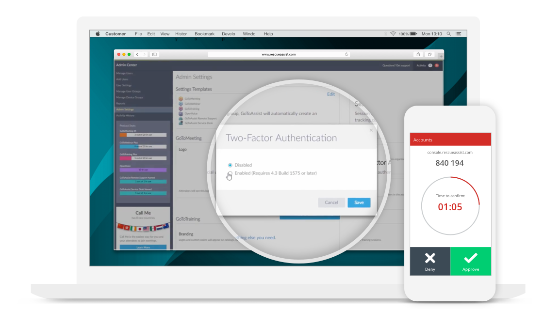 Two Factor Authentication Is An Added Level Of Security That Can Be Enabled At The Account For A RescueAssist Used With Authenticator App