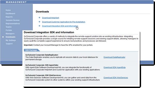 Download Integration SDK & Info in Management Center