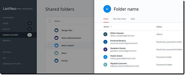 Gebruikers van gedeelde mappen in Enterprise Admin Console