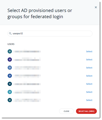 Select users or groups to convert to AD FS