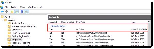 Copiar la ruta de dirección URL de emisión de token de punto de conexión de ADFS