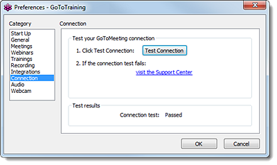 测试您的 GoToTraining 连接