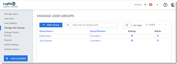 Eliminazione di un gruppo utenti