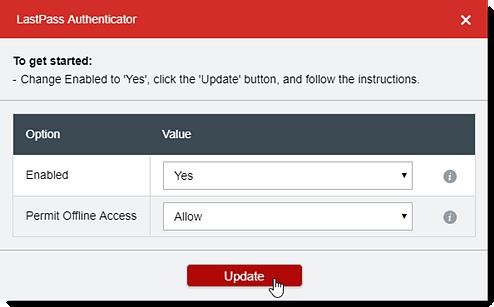 Selecione Sim para ativado e depois clique em Atualizar