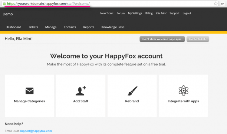 1st login to happyfox