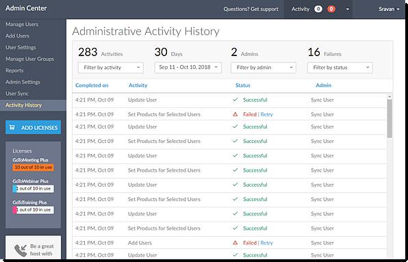 Administrative Activity History