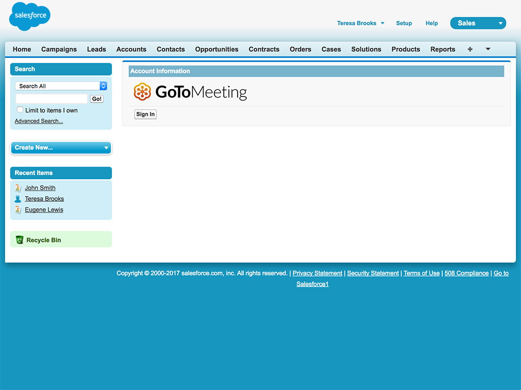 GoToMeeting Salesforce Integration