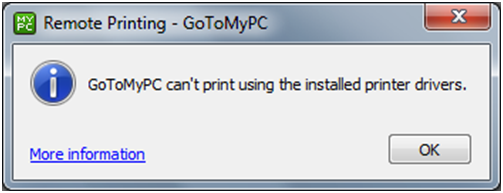 GoToMyPC cannot print using installed drivers (Windows 8)