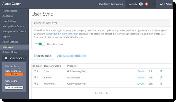 Sincronização de Usuários no Centro de Administração em execução