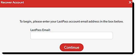 Introduzca la dirección de e-mail de LastPass