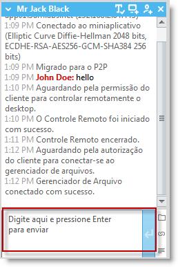 Caixa de entrada de texto de bate-papo