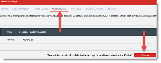 Manage Mobile Devices Using LastPass