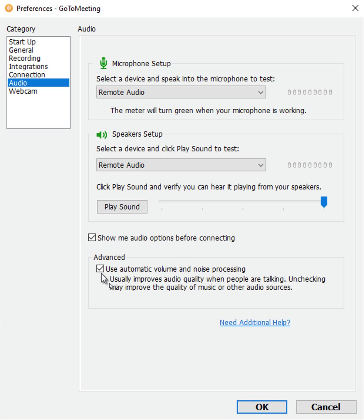 Disable Advanced Audio Setting