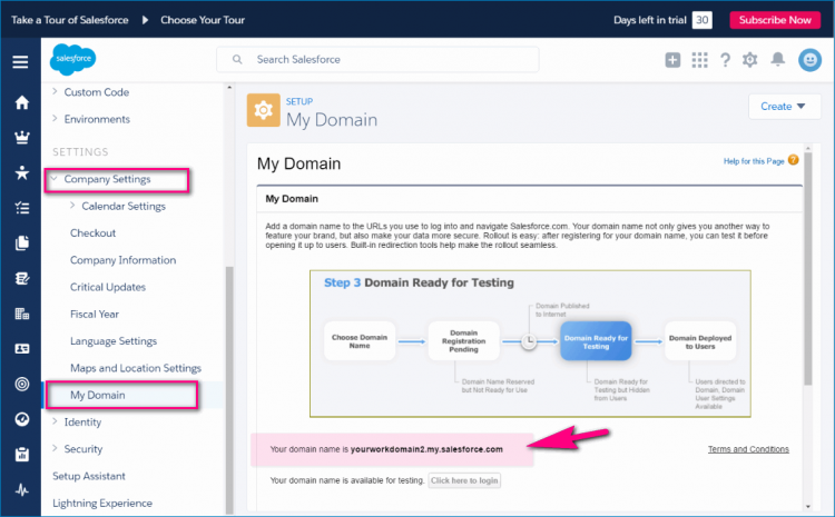 settings-domain salesforce_yourworkdomain