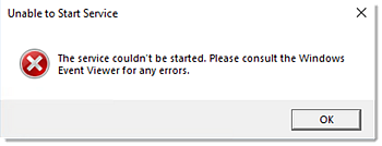 Service could not be started error