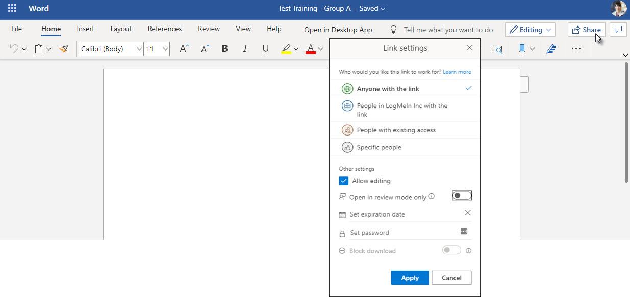 OneDrive Share Settings Screen