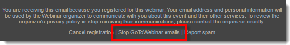 GoToWebinar-E-Mails abbestellen